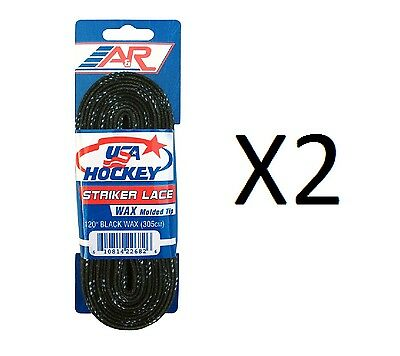 A&R Sports USA Hockey Laces - Waxed Striker Laces - Black 120 Inches (2-Pack)