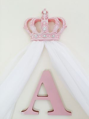 Pink White Girls Bed Canopy Princess Shabby Chic Crown + Voile Drapes Bedding
