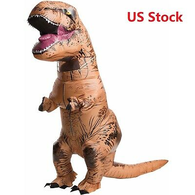 Inflatable Dinosaur Costume Adult  T-Rex Jurassic Dress Cosplay Halloween Fancy#