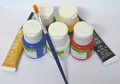 5 X GLASS PAINTS SET Stained Transparent ~Brush ~PLUS GOLD / BLACK Outliners ~