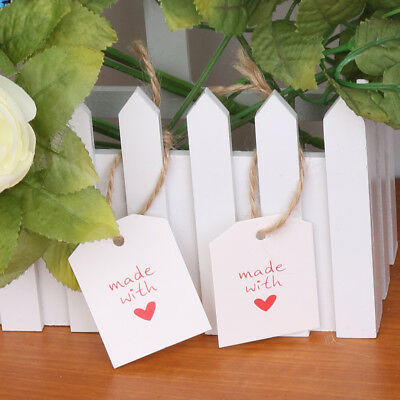 100pcs Made With Love Heart Paper Tags Wedding Gift Label Party With String
