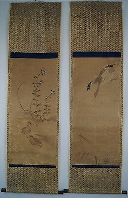 2 Antike Japanische Rollbilder Kakejiku Enten Japan Scroll Paintings Ducks 3355
