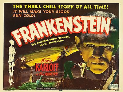 """Frankenstein 16"""" x 12"""" Reproduction Movie Poster Photograph"""