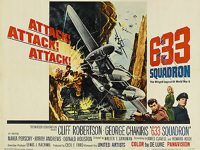 """633 Squadron 1964 16"""" x 12"""" Reproduction Movie Poster Photograph"""