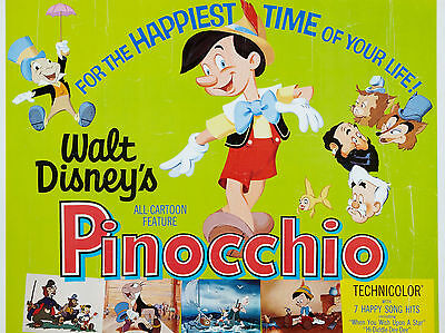 "Pinocchio 1940 16"" x 12"" Reproduction Movie Poster Photograph"