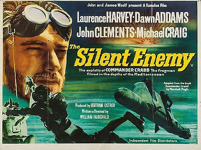 """The Silent Enemy 1958 16"""" x 12"""" Reproduction Movie Poster Photograph"""