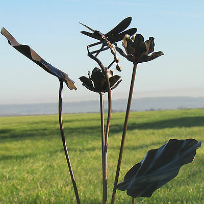 Handcrafted metal, rustic dragonfly garden stake  ornament /  sculpture / statue