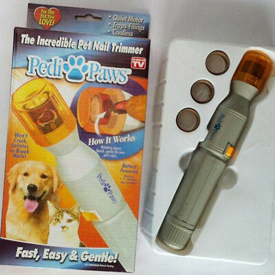 Pedi Paws Pet Nail Trimmer Battery Powered Cats Dogs Fast Easy New