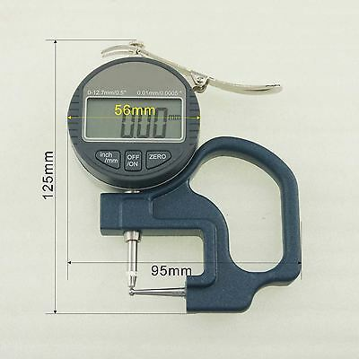 Digital Thickness Measuring Caliper Micrometer 0-12.7mm Double Ball Points