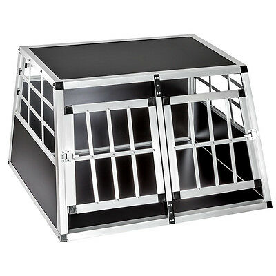 Aluminium Double Dog Pet Cage Transport Crate Car Travel Carrier Box 89x69x50 cm
