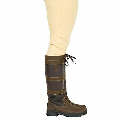 Adults Saxon Long Horse Riding Walking Stable Leather Country Boots Size Uk 4-10