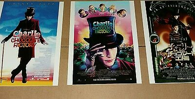 "8"" x 6""  3 x  GLOSSY  PRINTS JOHNNY DEPP CHARLIE AND THE CHOCOLATE FACTORY"