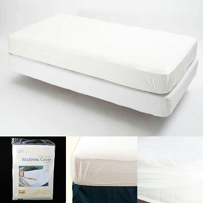 King Size Fitted Mattress Cover Vinyl Waterproof Bed Bug Allergy Protector New !
