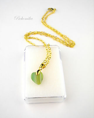 Vintage Pendant Czech Glass Small Chain Heart Necklace Charm GREEN GOLD TONE