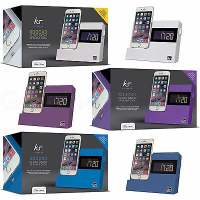 Kitsound iPhone 8/7+/6+/7/6S/5S XDOCK3 Radio Clock Dock Speaker Charging Station
