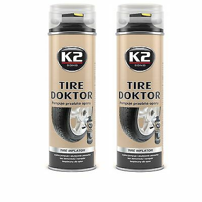 K2 Tire Doktor Emergency Repair Inflator Sealant Flat Punctured Tyre Spray x 2