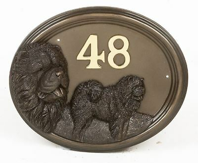 Bronze Finish Oak Chow Chow Dog House Number Sign