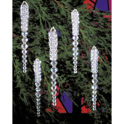 """Holiday Beaded Ornament Kit Sparkling Icicles 3.75"""" Makes 30 BOK-5489"""