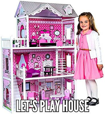 Isabelle's Doll Dream House Playset Furniture Size Girl Gift Room Story Pink Set
