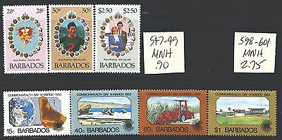 BARBADOS 547-49,598-601 SG674-76,722-25 MNH 1981-83 2 sets Cat$4
