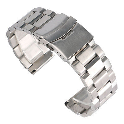 18/20/22/24mm Watchband Silver Solid Stainless Steel Watch Band Strap Adjustable