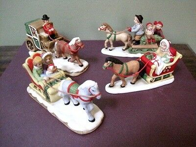 Lot of 4 LEFTON Horse & Carriage/Sled Figurines (pre-owned) NICE! '80's