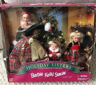 1998 Holiday Sisters Gift Set Barbie, Kelly, Stacie Christmas