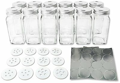12 Square Glass Spice Bottles 4oz Jars with Silver Metal Lids, Shaker Tops, and