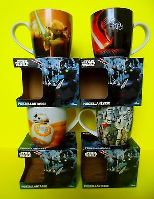 4 x Star Wars Rogue Tassen Disney Becher Porzellantasse 4 Motive 250 ml Neu Ovp