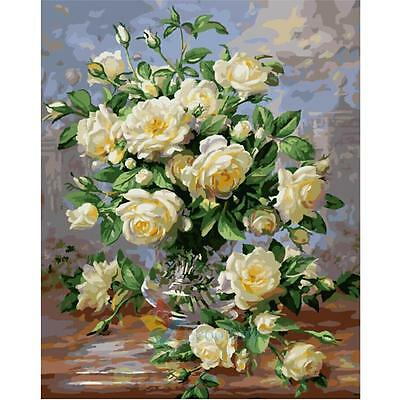 """11.8""""*15.6"""" Paint By Number Kit Digital Oil Painting Canvas White Rose #A"""