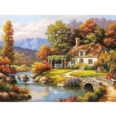 DIY Paint By Number Kit Acrylic Oil Painting On Canvas River House Home Decor A