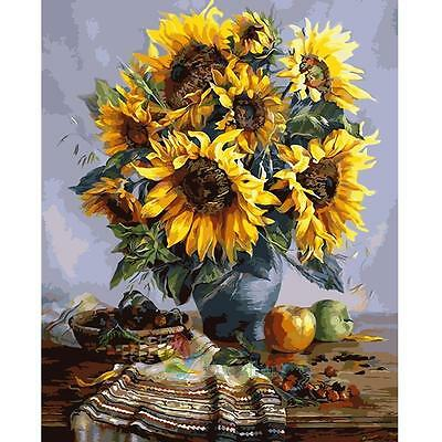 40*30cm DIY Paint By Digital Oil Painting Kit Canvas Sun Flower #A