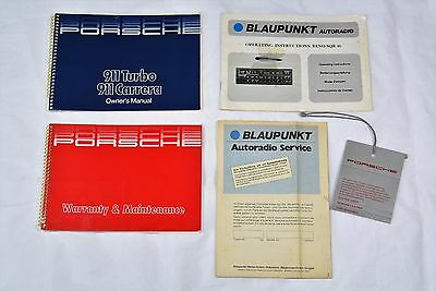1986 Porsche 911 Turbo Carrera Owners Manuals Set Oem Maintenance Book Radio
