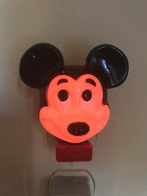 Vintage Disney Mickey Mouse Head Electric Night Light Collectible Works!!