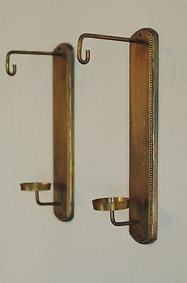 "Vintage - Pair Of 2 Brass Wall Candle Holders / Sconces 14.5"" tall Narrow Pair"