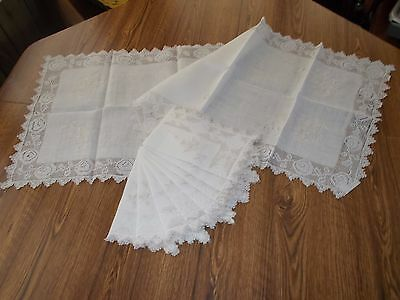 Antique Spanish Drawn Lace Embroidered Runner with 8 Matching Placemats Napkins