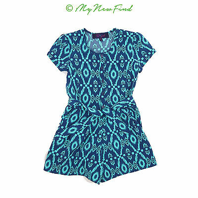W Girl Girls' Tribal Blue Belted Cap Sleeve Shorts Romper Sz 10 12 M  B48