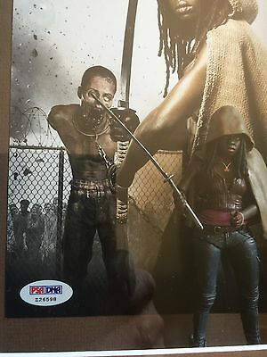 The Walking Dead- Michonne - Signed Photo PSA - Framed With TV Series Figure