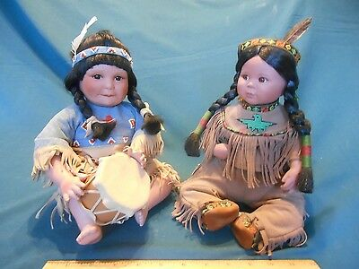 Two (2) Artaffects by Perillo Native American Porcelain Dolls 1992 Danbury Mint