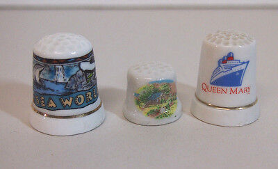 Vintage Walt Disney Sea World QUEEN MARY AND OTHER Thimble LOT