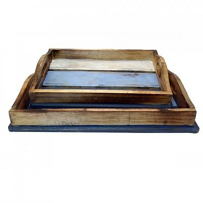 2x Vintage Rustic Wooden Blue Trays Serving Nested Distress Tray/Table/Decor