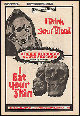 I DRINK YOUR BLOOD__I EAT YOUR SKIN__Original 1970 Trade AD/ horror movie poster