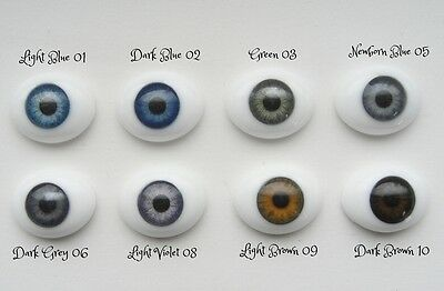 16mm Flat Back Oval Glass Eyes~Dark Brown~
