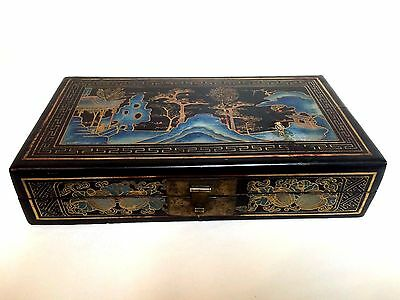 Large 19th C Antique Japanese Lacquered Box