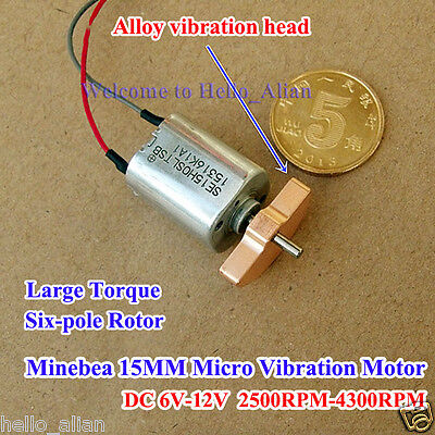 DC 6V-12V 15MM Minebea Vibration Motor Large Torque 6-Pole Rotor for Massager
