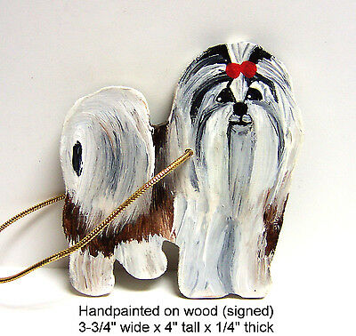 Shih Tzu or Lhasa Apso Handpainted Wooden Christmas Holiday Ornament (signed)