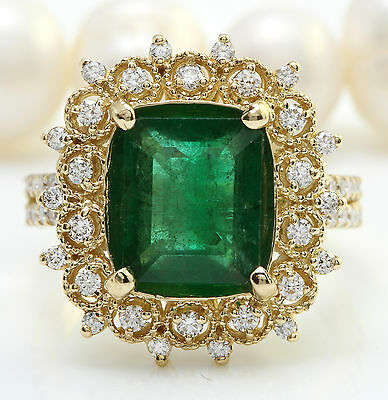 4.26CTW Natural Emerald and Diamonds in 14K Solid Yellow Gold Ring