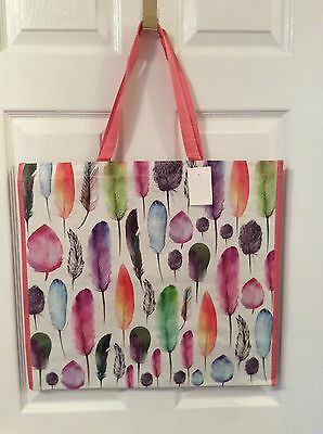 NEW Shopping Bag Reusable Travel Tote FEATHERS Huge Marshalls HomeGoods NWT