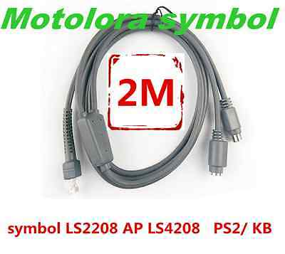 2m Dual PS2 to RJ45 Male Cable for Symbol LS2208 AP LS4208 Barcode Scanner