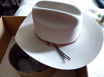 "STETSON Cowboy Hat~Silver-belly color # 601, #0442 ""Grant"", size 7-1/8, Hat band"